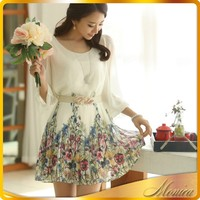 Different Designs Casual Dress 2014 Women Summer Pleated Ladies Fashion Dresses With Pictures