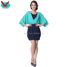 Women 2/3 Ruffled sleeves Pleated Chiffon with Belt Skirt Casual Elegant Party short evening Dress