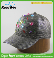 High Quality 5-panel Custom silver Faux Straw Fashion Women Trucker Cap with Rhinestone