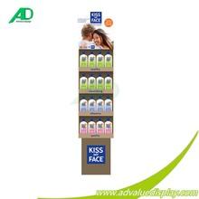 Four tiers floor standing display shampoo cardboard shelf on supermarket