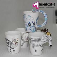 Hand-Painted Ceramic Cups 3D Animals Designs Coffee Mug