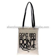 Promoción personalizada impresa algodón barato moda bolso de compras