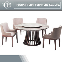 modern round marble dining table with lazy susan