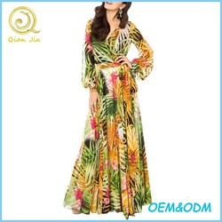 Big Hem Flower Print Chiffon Maxi Long Dress For Holidays