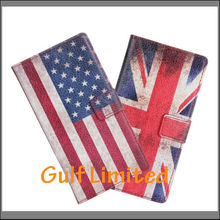Flag phone case leather booklet case for Huawei Y300