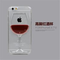 T-Skin Flowing Liquid Red Wine Glass Cocktail Beer Bottle Design Transparent Plastic Hard Case for Apple iPhone 6 4.7''