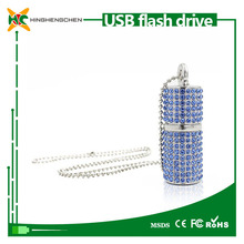 Blue 8GB USB Flash Drive , Bling Rhinestone Cylindrical crystal diamond Necklace pendrive
