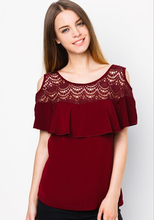 nuevo estilo de color rojo del hombro cordón festoneado modelos blusas de gasa