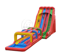 triple lane giant inflatable water slide with pool