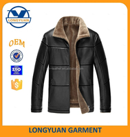 2015 men's leather jacket with flur lining winter new style men's jacket