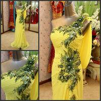 Real Picture 2014 Custom Made One Shoulder Appliques Alibaba New Model Evening Dress DE300
