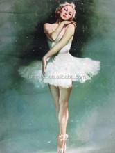 High Quality Canvas Base Environmental Oil Medium Handmade Sex Ballet Girl Dancing Oil Painting
