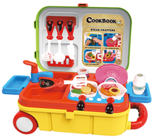 Plastic Suitcase Cookware Kitchen Cooking Toys Gift Play Becomes Case Set