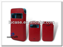 Red PU Leather Mobile Phone Cases Holster with Clear Window for iPhone5