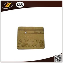 High Quality Custom Yellow Leather Label Embroidered Leather Patch
