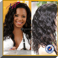 Natural color 100% Indian remy human hair full lace wigs with bangs