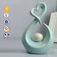 blue color modern design heart shape ceramic arts and crafts ceramic ornaments to paint