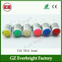 Mix color T10 7014 3SMD W5W Led1.5W 54LM 3 Led Auto Car Wedge Reading Lamps,t10 bulb