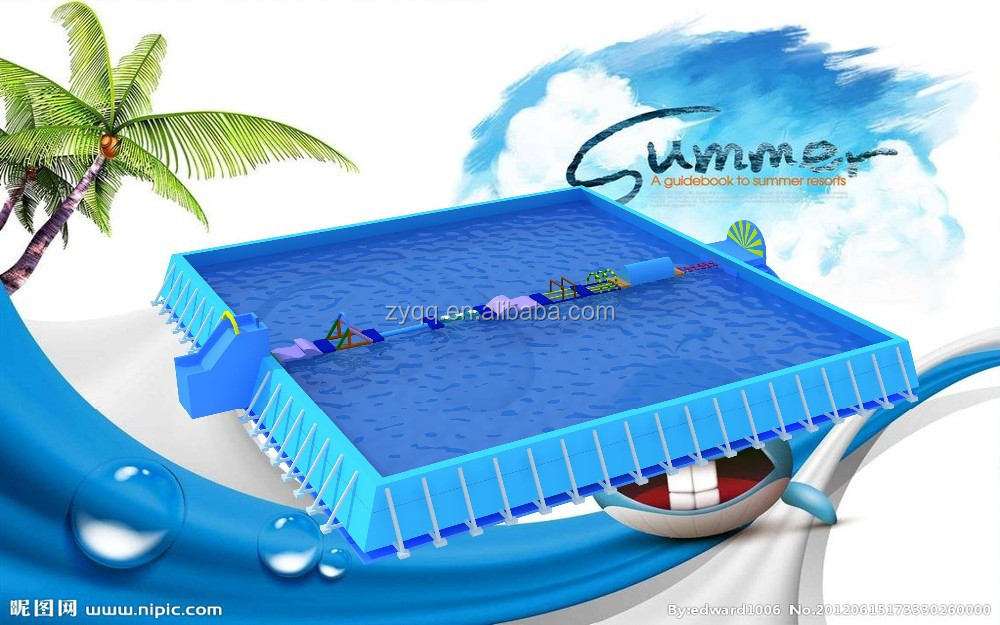 Summer swimming rectangular pvc outdoor above ground metal for High quality above ground pools