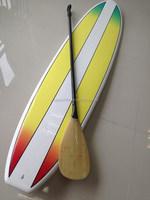 China Price Sup paddle 3K Carbon Paddle Shaft Bamboo Surface Surf paddle