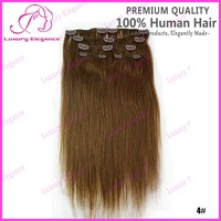 14 18 Inch 6pcs 4# Brown Cheap Hair Extensions Clip In Full Head Wholesale