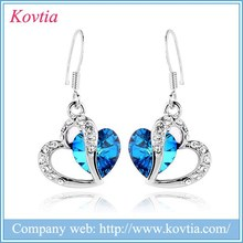 White gold 925 stainless steel jewelry sliver heart to heart earrings with crystal