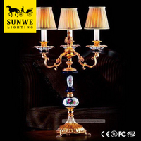 Famous Brand Baroque 3 Lights Home Lampshade Bronze Porcelain oil lamp for table