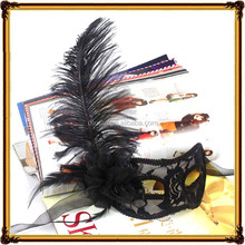 White PP Material With Ostrich Feather Party Face Lace Mask For Sale