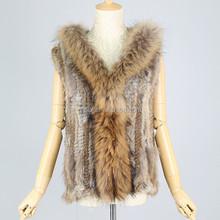 QC2127 girls knitted rabbit fur hood vest/gilet with raccoon dog fur collar trimming