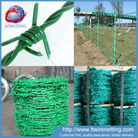 Pvc coated barb wire fence / barbed wire price per ton / barbed wire length per roll