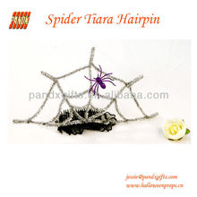 Silver Glittered Crown hairpine with purple spider and spiderweb for Party girls