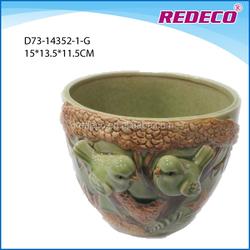 Antique ceramic cup shape garden bird flowerpot