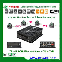 TESWELL TS-918 8CH FULL 960H HDD vehicle mobile DVR,LINUX system,HDD/SSD MDVR with 3G/WIFI/GPS
