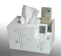 White acrylic facial tissue box with remote controller holders