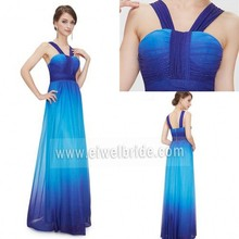 S125 Straps Ruffle Sleeveless A-Line Floor-Length Chiffon Evening Dresses China