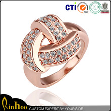Rose Gold Plated Fashion Ring With Rhinestone Inlay, Wholesale Cheap Fashion Ring