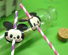 Mickey and Minnie party and birthday use striped paper straws , food grade party paper straws