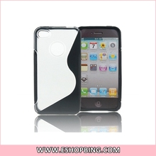 Silicone Bicolor Transparent Glue Hard Case Back Cover for iphone 4G