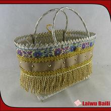 Small double color fashion woven raffia bags