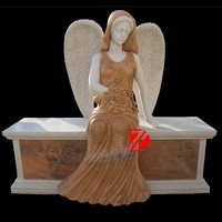 hand carved stone sitting angel statue