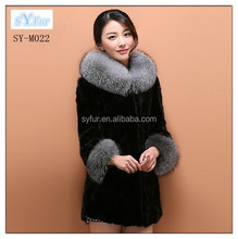 Korea style hot selling ladies long real mink fur coat with silver fox fur collar and cuff for elegant women