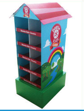 Colorful cardboard house shaped cookies boxes in Wal-Mart