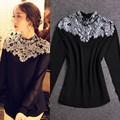 nueva moda de primavera 2015 las mujeres camisa de las señoras sexy brillo de abalorios de cristal negro tapas blanco blusa de manga larga para las mujeres ropa