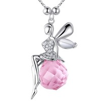 Yiwu Factory in 2015 Popular Best Friend Ladies Fancy Accessories Sterling Silver Chain Angel and Crystal Pendant Yiwu Jewelry