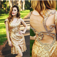JM. Beidals ONE312 New Arrival Sexy Heavy Beaded and Sequins Short Golden Cocktail Dress Performing Dress