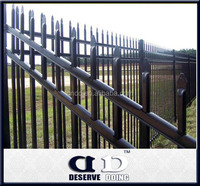 Black welded wire fence mesh panel vinyl coated top picket fence