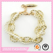 New style Woman bangle Fashion Cheap Gold plated Artificial Pearl chain bracelet