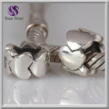 high quality european 925 sterling silver heart to heart charms for diy bracelrt