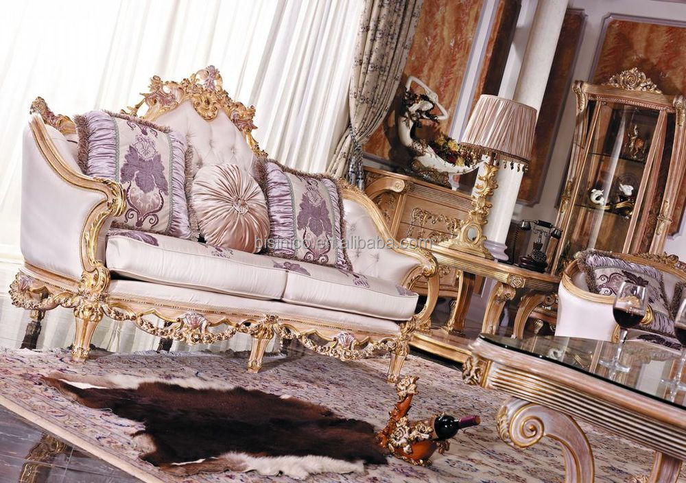 Luxury French Baroque Style Living Room Furniture Sofa Set European