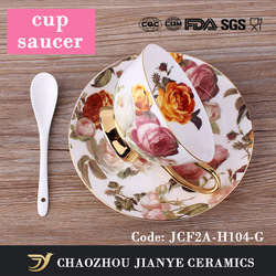 200cc Elegant Rose Flower Pattern Style Ceramic cup and saucer